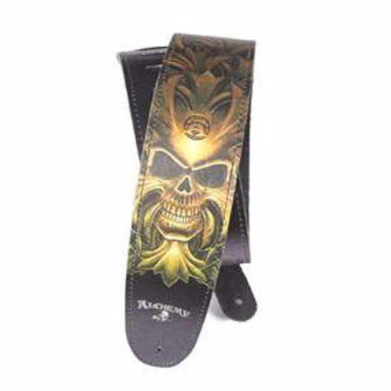 PAS ZA KITARO PLANET WAVES Alchemy Leather Guitar Strap, Green Skull