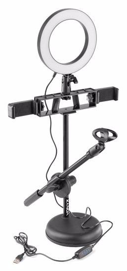 VONYX RL20 okrogla luč s stojalom za mikrofon in držalom za telefon